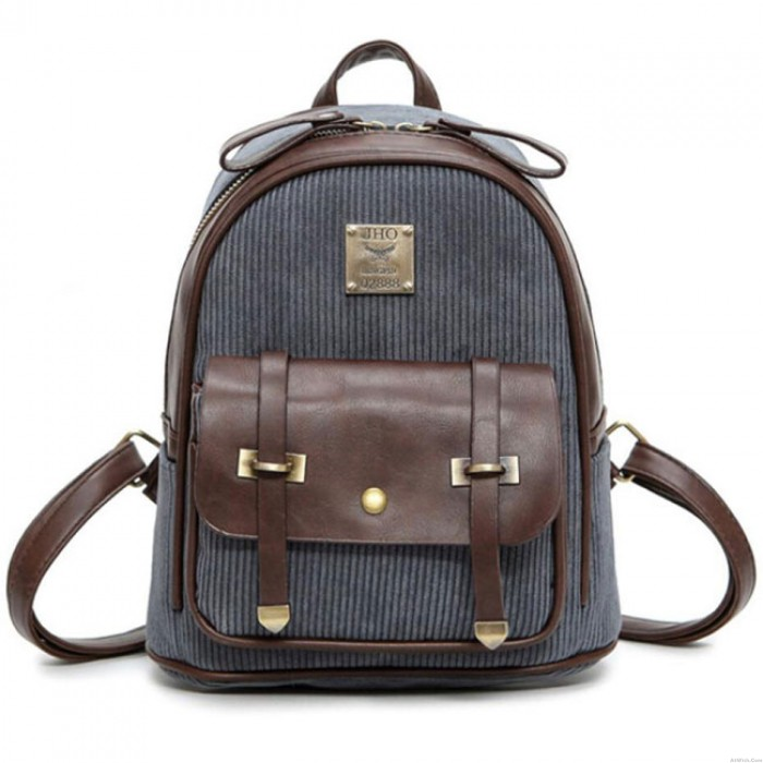 Retro Girl's Corduroy Splicing PU Leather School Backpack Student Backpack