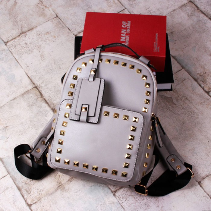 Fashion Rivet Causal Solid College Backpacks