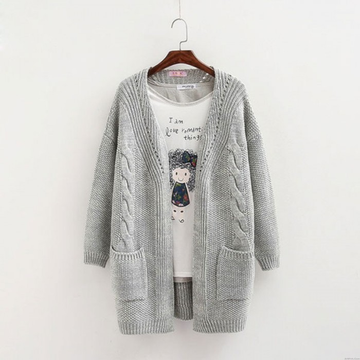 Leisure Loose Warm Cardigan Double Pockets Long Knitted Sweater Coat