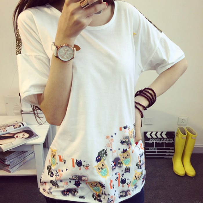 Fresh Lovely Embroidered Owl Loose Floral Round Neck Short Sleeve T-shirt