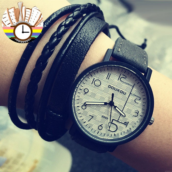 Fashion Unique Personality Dial Leather Women Wrist watch