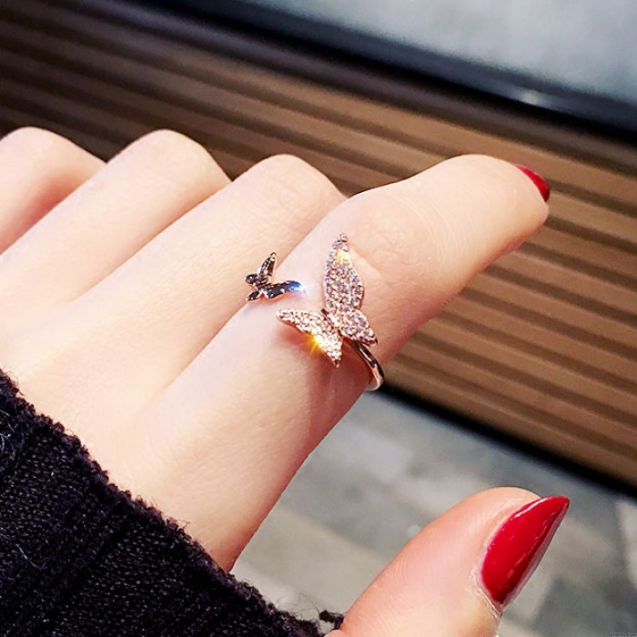 Creative Airplane Butterfly Love Strawberry Rhinestone Adjustable Open Ring