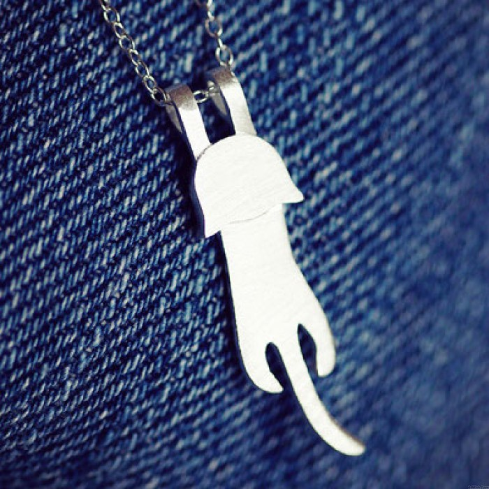 Hand Made Lovely Cat 925 Sterling Silver Necklace