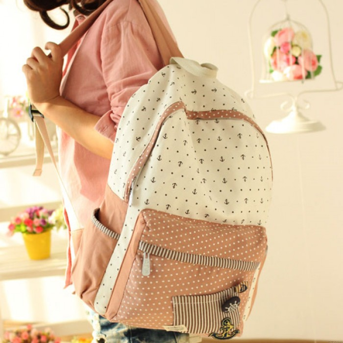 Leisure College Anchor Dot Pattern Schoolbag Backpack