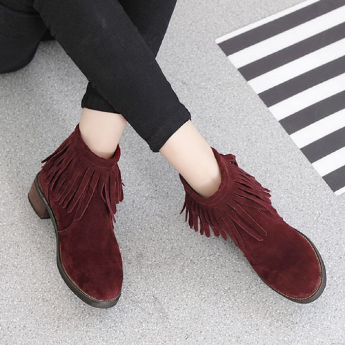 Arrow Tassel Solid Color Thick Soles Suede College Short Martin Boots