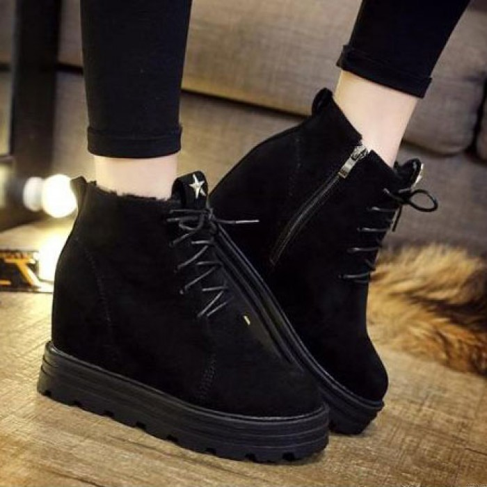 Leather Plus Velvet Matte Round Toe Boots Within The Higher