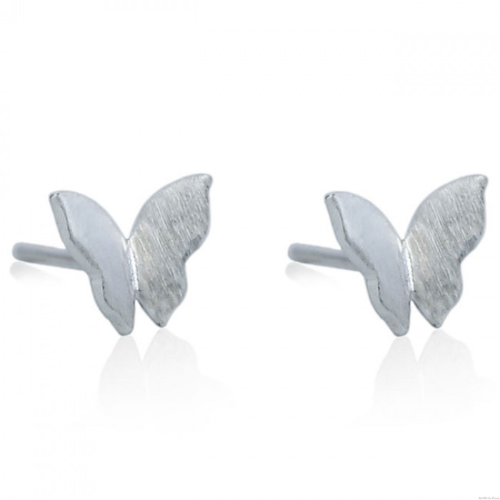 Cute Pure Mini Butterfly Simple Brushed Silver Animal Earring Studs