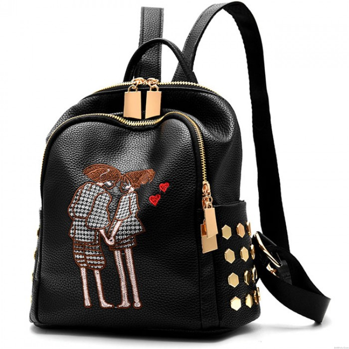 Romantic Girl's PU Black Cartoon Lovers Embroidery Rivets Large School Backpack Travel Backpack