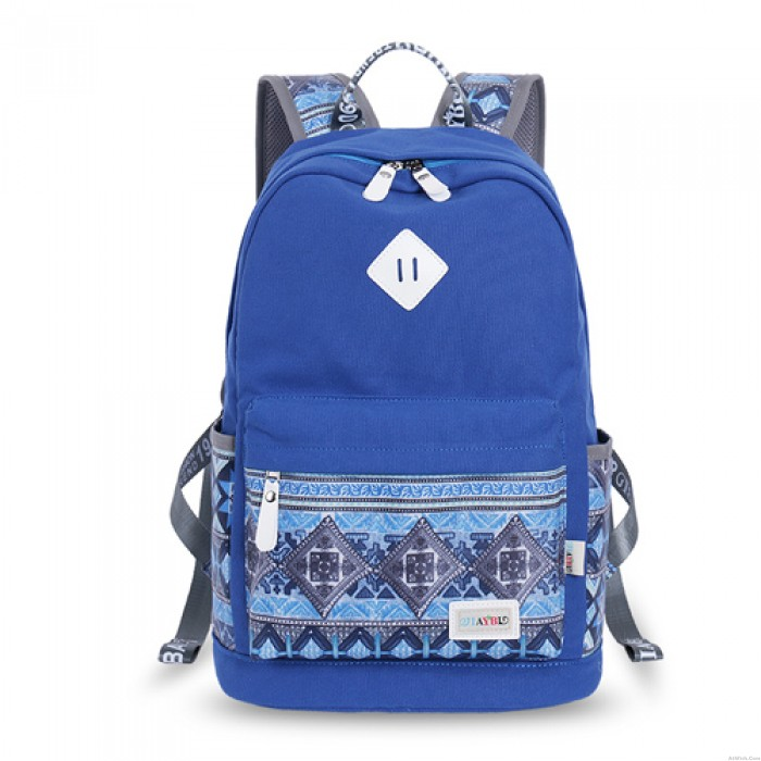 Folk Geometry Trunk Patterns Mixed Colors Computer School Backpack