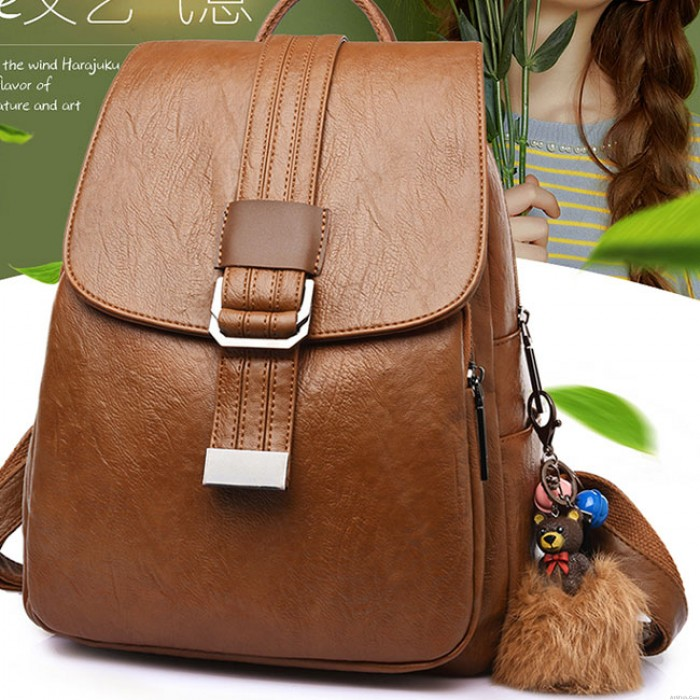 Retro Simple Single Button School Bag Soft PU Student College Backpack