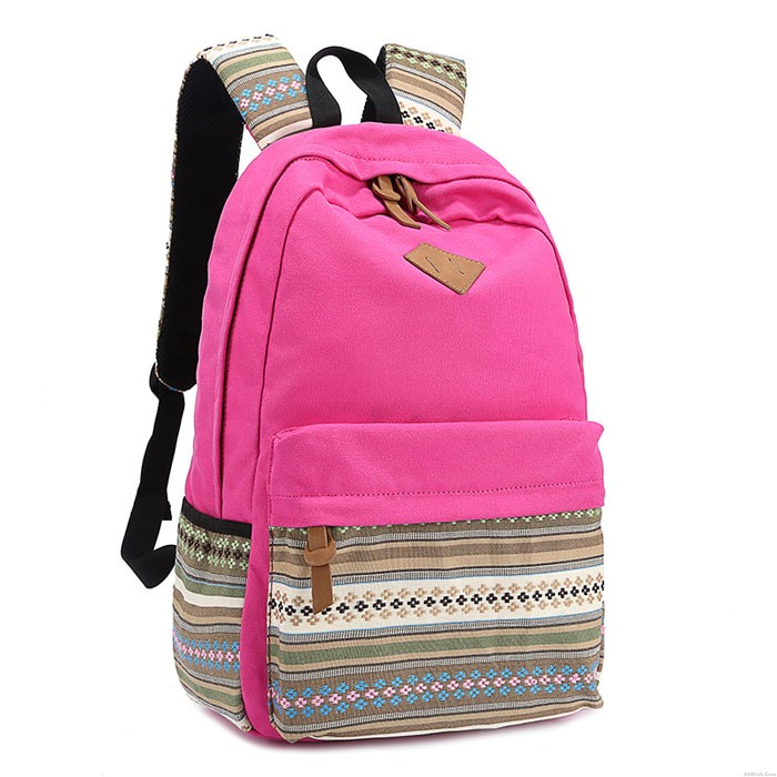 New Folk Striped College Canvas Backpack
