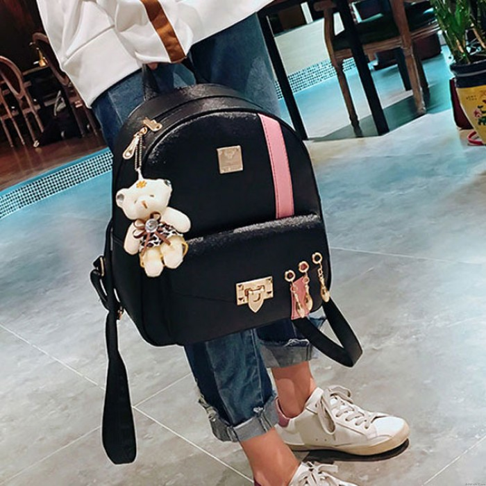 Cute Contrast Color College Bag Fresh Pink Stripe Button School Backpack