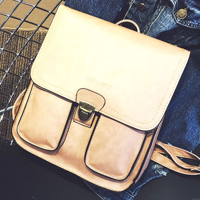 Retro Metal Lock Match Flap Two Pockets Outside Student British Gloosy Square PU Backpack