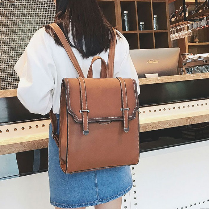 Retro Frosted Flap Square Belt School Bag Gift Small Shoulder Bag Girl's PU College Backpack