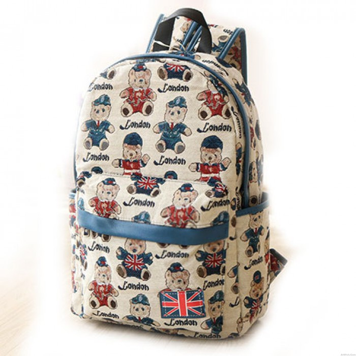 Lovely Bear Canvas Backpack The Union Flag College Bag