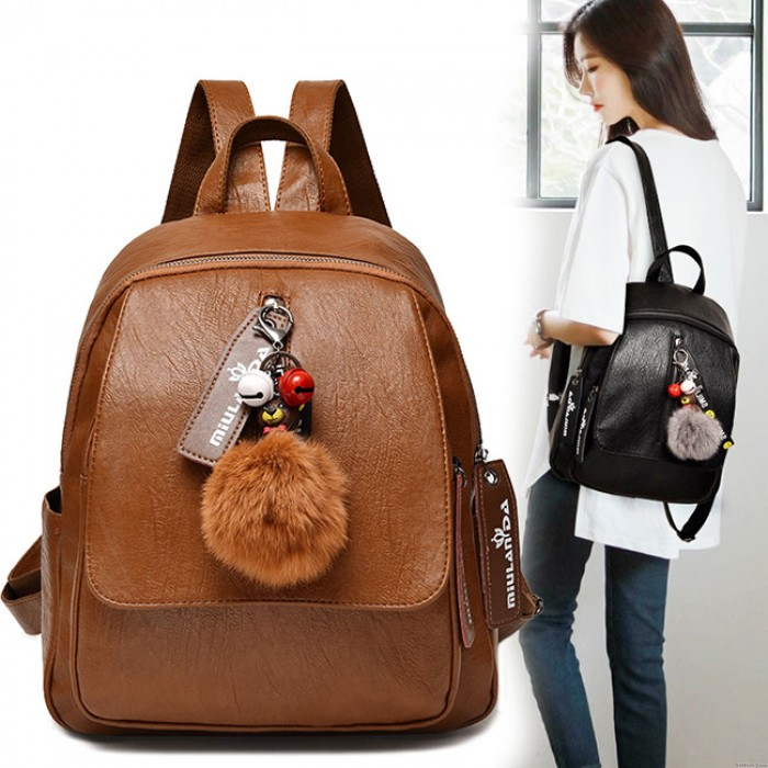 Retro Brown Soft PU Large Lady Bag Leisure Large Student Backpack