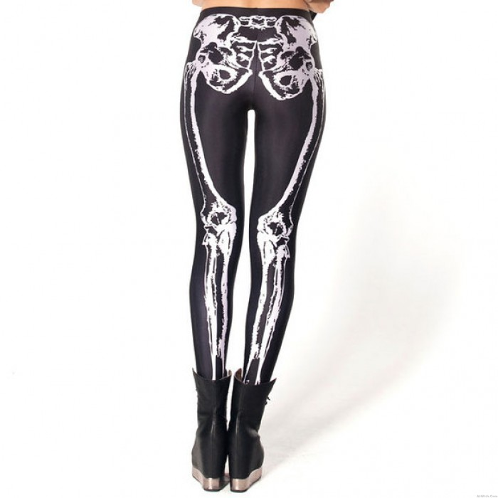 Skeleton Print Leggings Black Pants/Leggings
