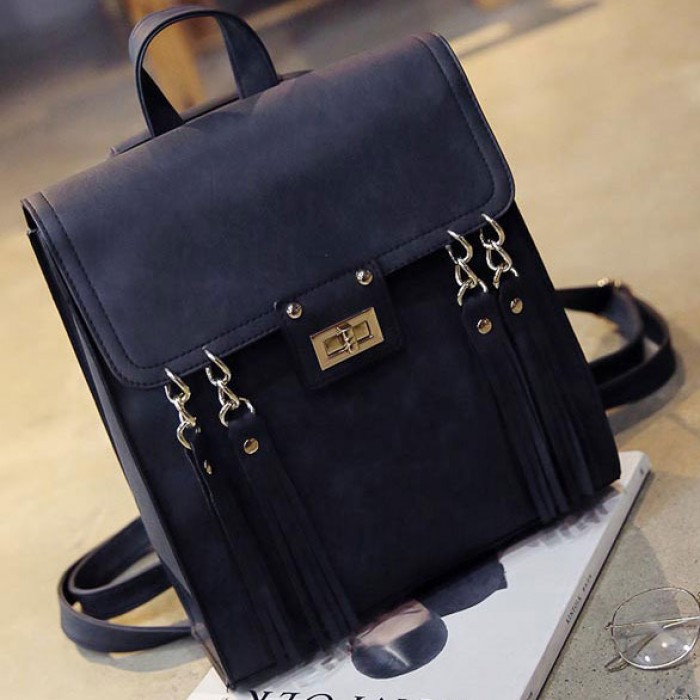 Retro Frosted Tassels Flap Multifunction Shoulder Bag Fashion Square PU Street Style Backpack