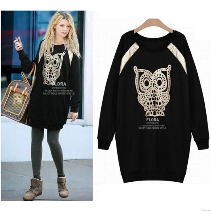 Casual Owl Pattern Long Skirts Blouses