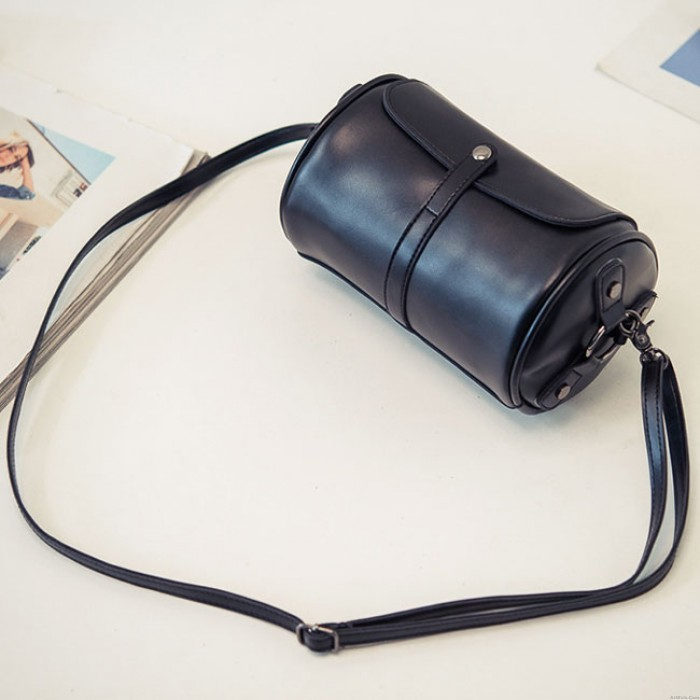 Retro Cylinder PU Rivets Simple Style Flap Zipper Lady Small Shoulder Bag