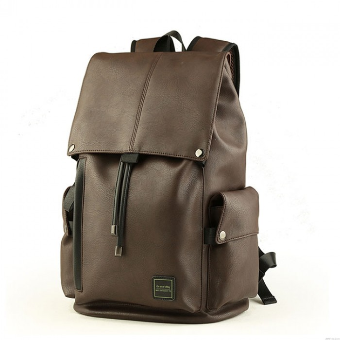 Men's PU Leather Draw String Large School Bag With USB Interface Capacity Flap Hiking Backpack