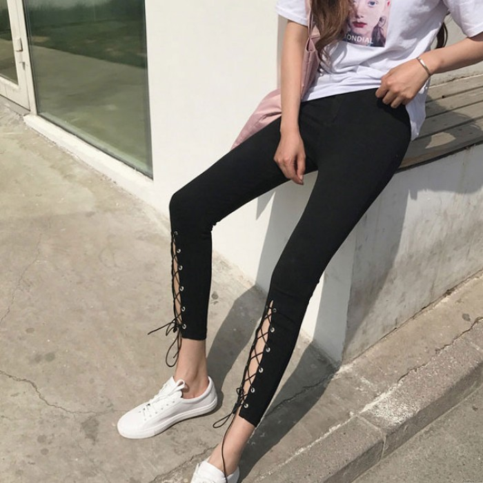 Fashion High Slit Lace-up Front Cut Out Ninth Black Girl's Skinny Legging