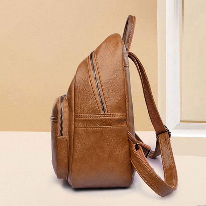 Retro Soft PU School Bag Simple Brown British Style College Student Backpack