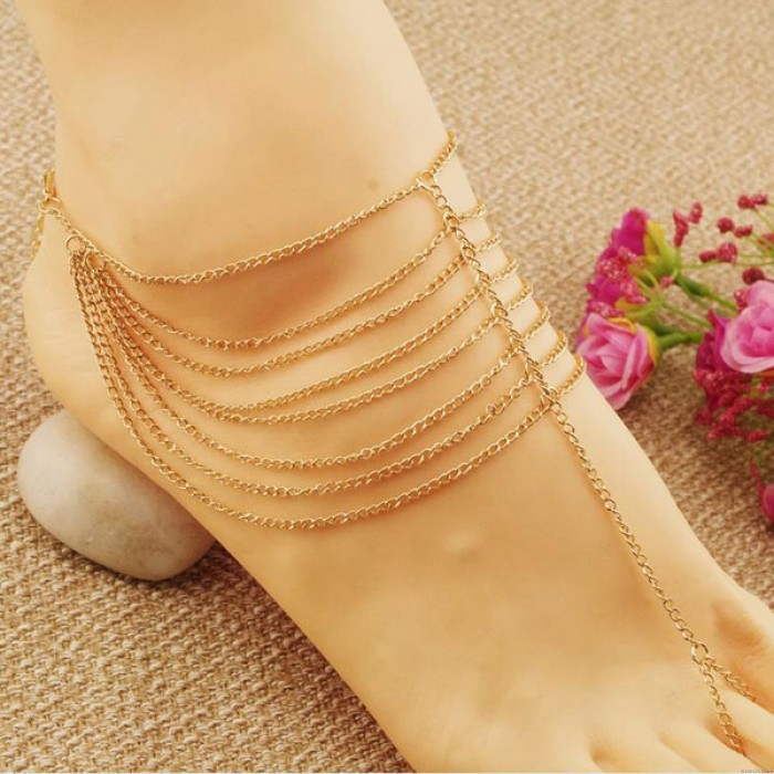 New Women Multilayer Chain Barefoot Sandals Bridal Toe Ring Anklet
