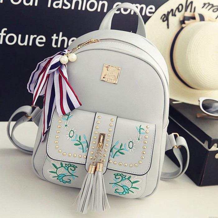 Unique PU Flowers Leaves Embroidery Tassel Rivets Girl's School Backpack
