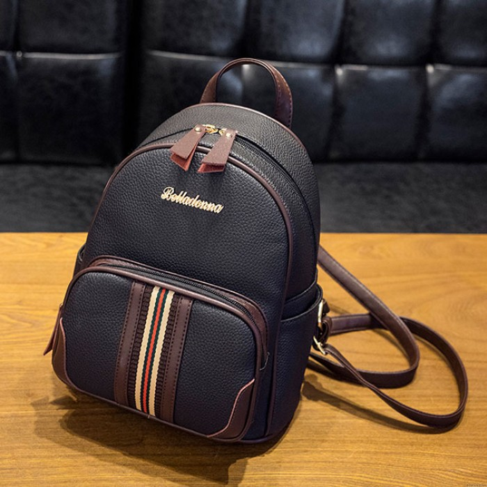 Leisure Mini Contrast Color Stripe Black Soft PU Backpack