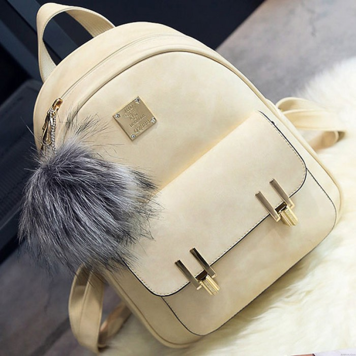 Leisure Frosted PU Zippered Bag With Metal Lock Match School Backpack