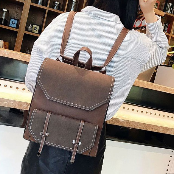 Retro Flap Belt Square School Bag Lady Brown Frosted College Backpack