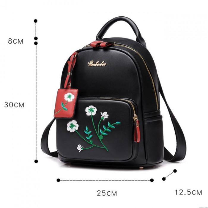 Fresh Flowers Embroidery PU Girl's College Student Backpack