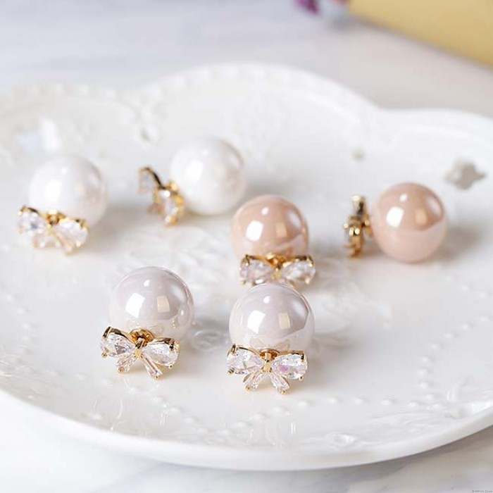 Sweet Bow Zircon Pearl Round Dual-purpose Lady Earring Studs