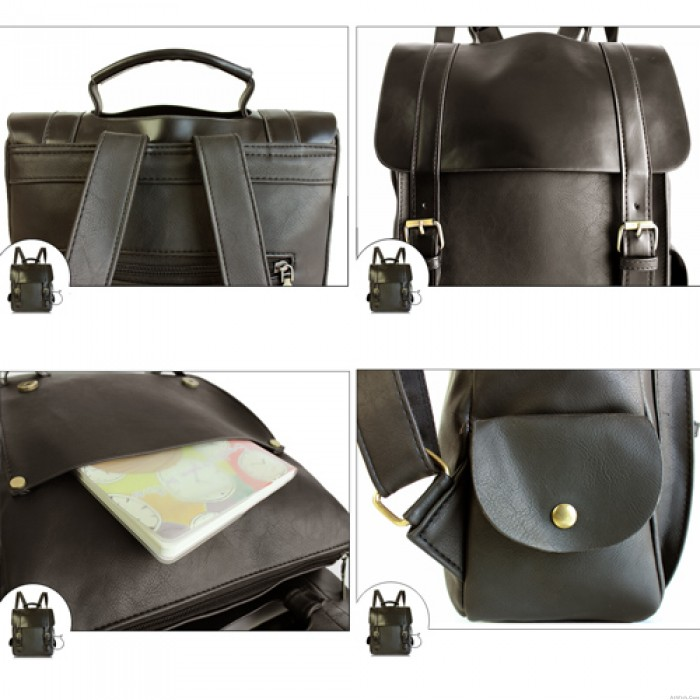 Retro College Double Hasp Solid Clamshell Travel Backpack School Bag