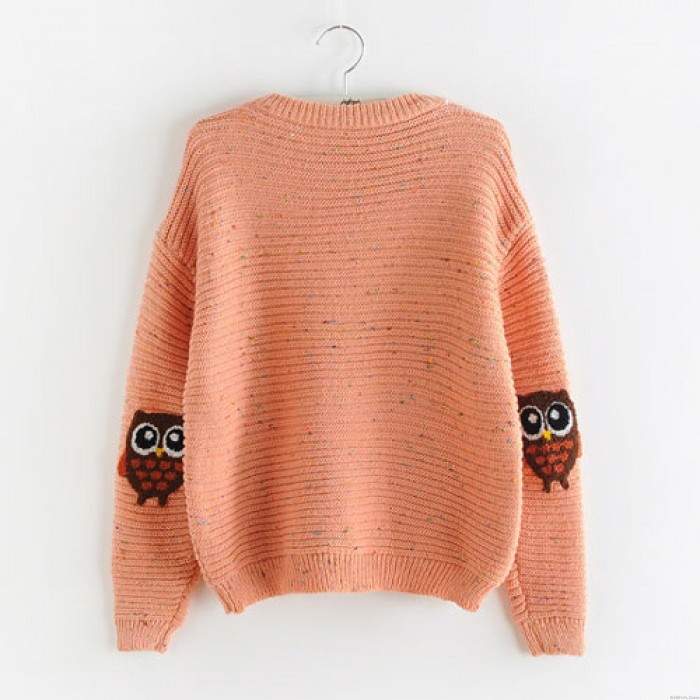Lolita Double Pockets Colorful Dot Owl Sweet College Girls Sweater