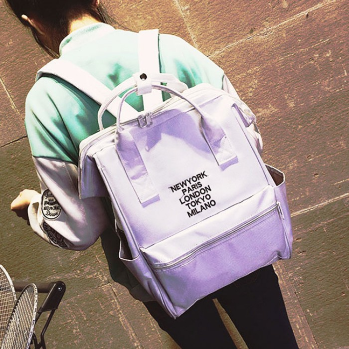 Fashion Black Pink Canvas Rose Embroidery Square Multi-function Handbag Solid School Backpack