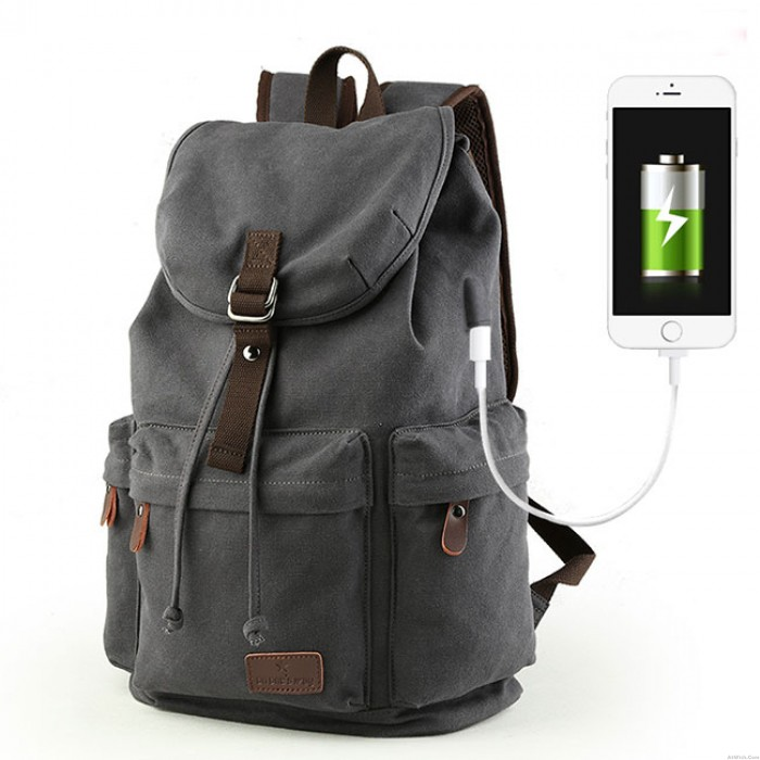 Leisure Drawstring Large Capacity Rucksack With USB Interface Flap Camping Travel Canvas Backpack