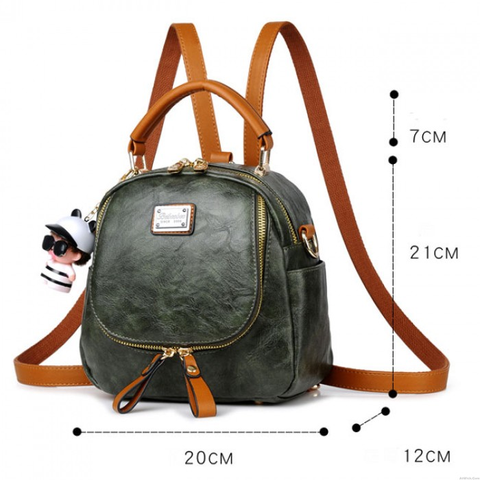 Retro Pure Color Multi-function Small Square PU Shoulder Bag Backpack