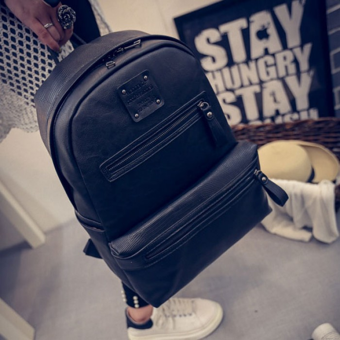 Original Splicing PU Crocodile Grained Leather Large Capacity School Backpack