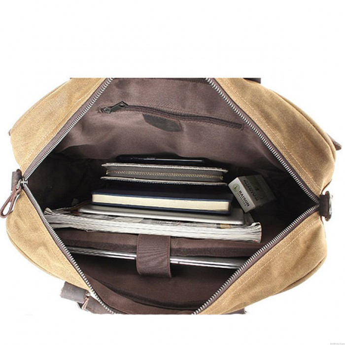 Vintage Large Splicing Leather Waterproof Laptop Magnetic SnapThick Canvas Shoulder Bag