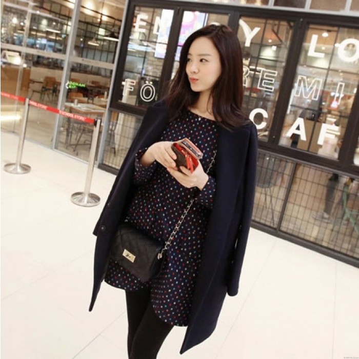 Fashion Double Breasted Lapel Long Woolen Coat