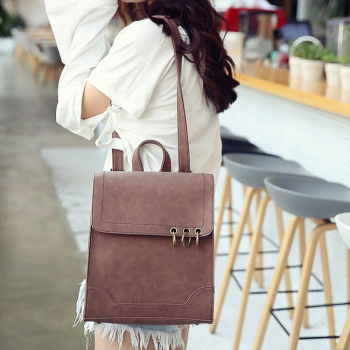 Fashion Metal Circular Rings Dual-use Shoulder Bag Backpack Retro Square Frosted PU Flap Backpack