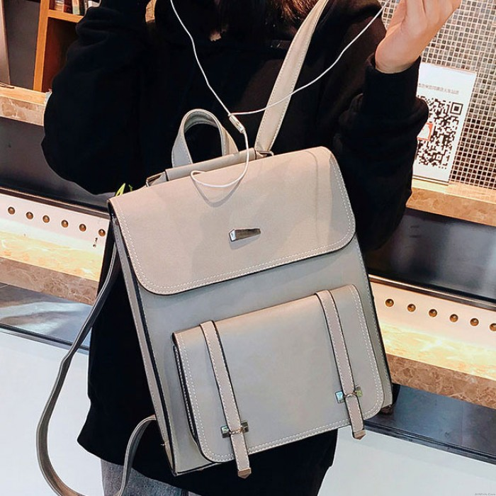Leisure British Style Girl's PU Frosted Flap Metal Lock Square School Bag Student Backpack