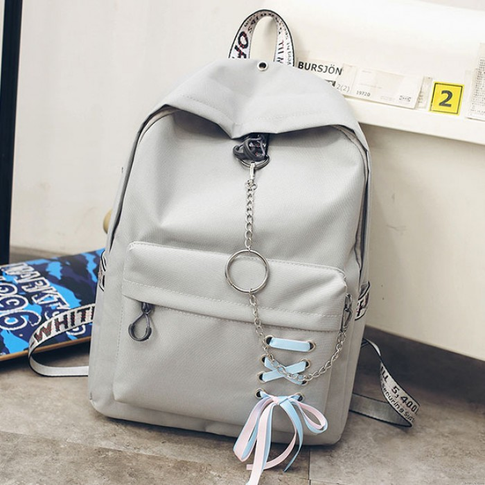 Leisure Girl's Shoelace Designed Ribbon Chain-laden Metal Chain School Bag Canvas Backpack