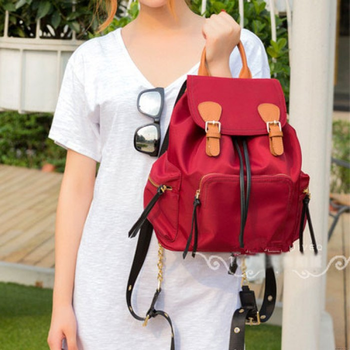 Leisure Oxford School Backpack Girl's Splicing Belts Pure Colored Waterproof Student Backpack