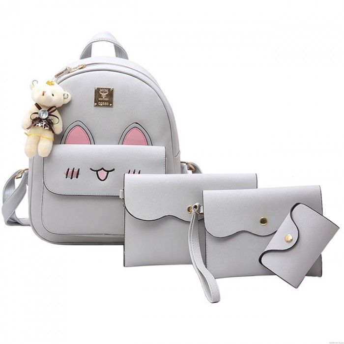 Cartoon Stereo Rabbit Ears  Animal School Backpack Cute Girls PU Embroidered Rabbit Face Backpack