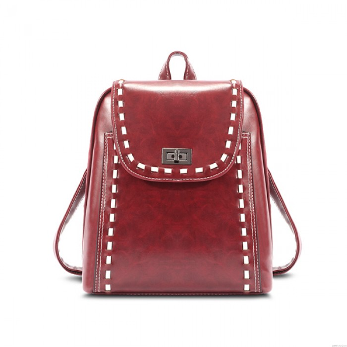 College Retro Mixed Color Travel School Trapezoid Satchel Weave  Backpack
