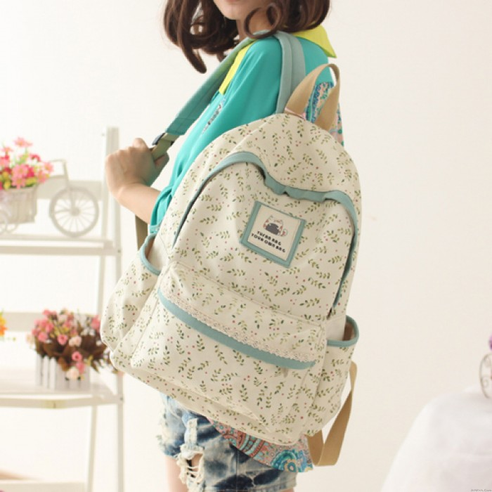 Fresh Lovely Bear Floral Lace Canvas School Bag Travel Backpack