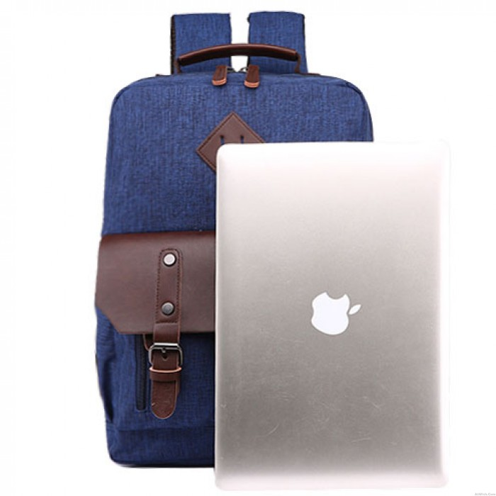 Retro Splicing PU Two Pockets Waterproof Leather Flap Large School Laptop Bag Travel Canvas Backpack